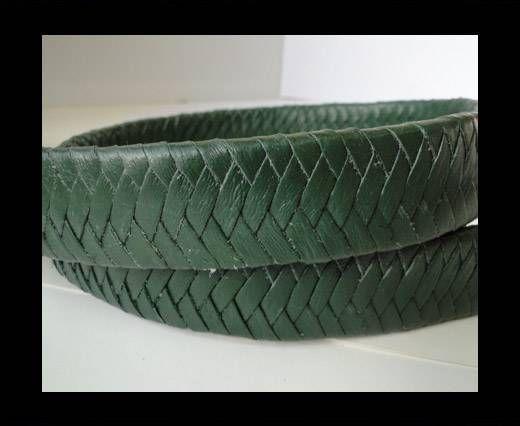 Real Nappa Flat Woven Cords - Green - 25mm