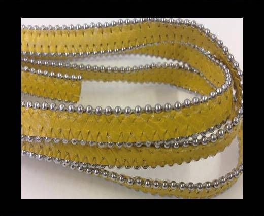 Real Nappa Flat Leather with steel balls chains-10mm-Honey Musta