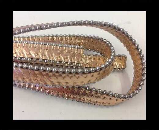 Real Nappa Flat Leather with steel balls chains-10mm-Metallic ro