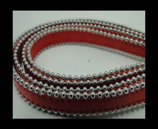 Real Nappa Flat Leather with steel balls chains - 10mm - Red