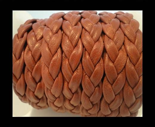 Real Nappa Leather -Flat-Braided-Brown-10mm