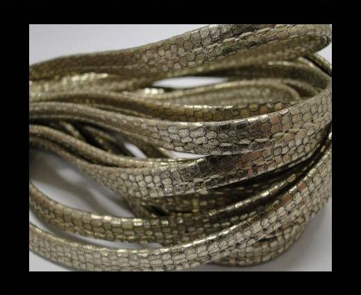 Real nappa leather stitched - 5mm - Snake Style - Phyton Gold