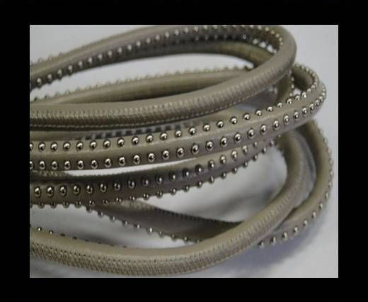 Real Nappa Leather Cords with studs - 6mm Taupe