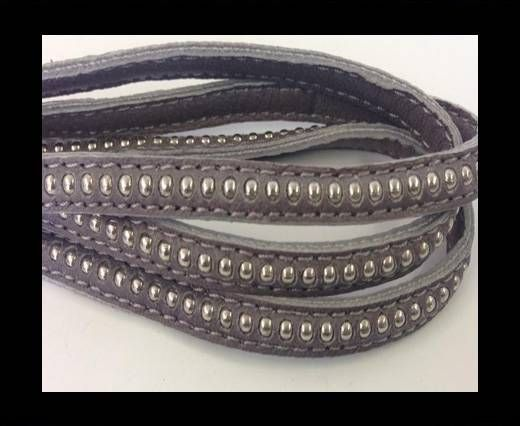 Real Nappa leather with silver plated ball chains-6mm-Grey