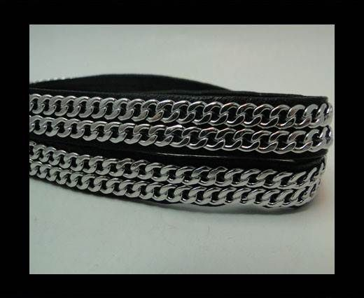 Real Nappa Leather Chain Stitched-10mm-Double-Black