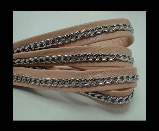 Real Nappa Leather Chain Stitched-10mm-Single-Pastel Pink