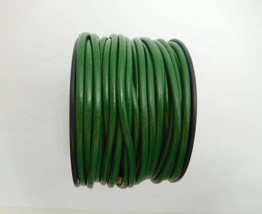 Round Leather Cord - Olive Green - 4mm