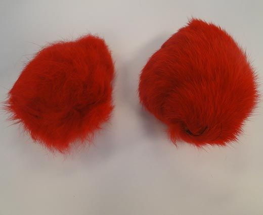Rabbit Fur Pom Pom-Red-10cms