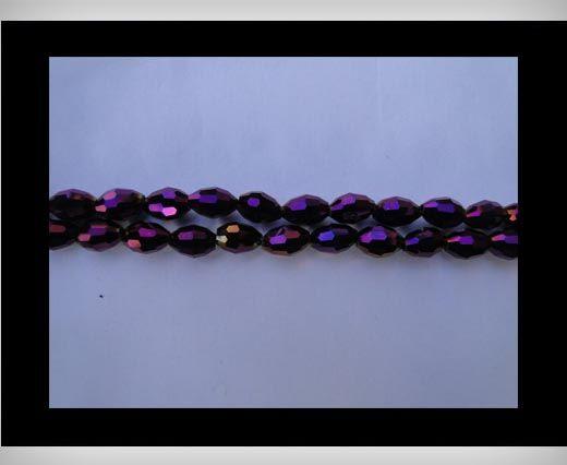 Rice Glass Beads-4mm*6mm-Metallic Amethyst