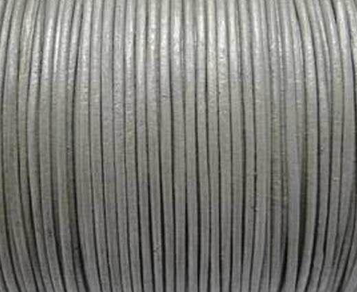 Round Leather Cord -1mm-  Metallic Dark Silver