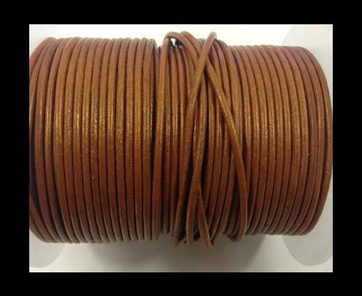Round leather cord-2mm-metallic dark yellow