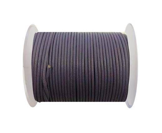 Round leather cord-2mm- Dark pastel purple