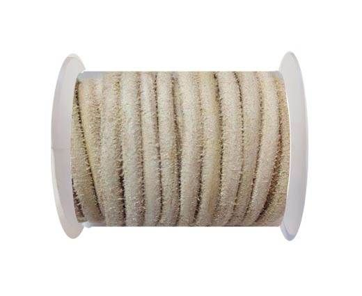 Round Leather Cord -5mm - Hairy Natural