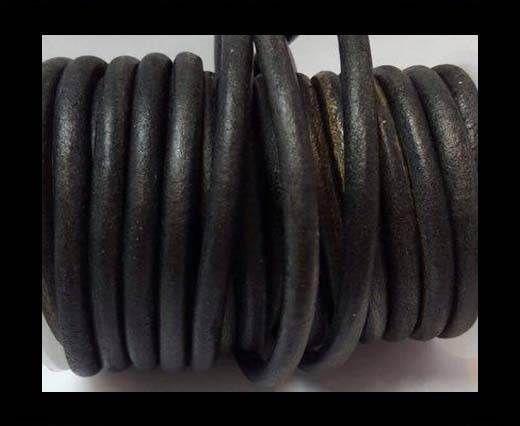 Round Leather Cord -5mm - Vintage Black