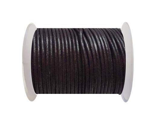Round Leather Cord  - Chocolate Brown - 1mm