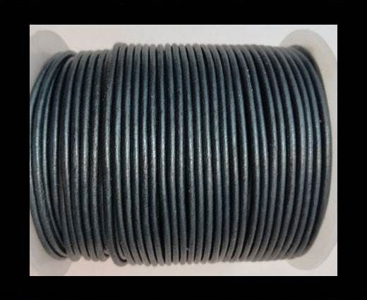 Round leather cord-2mm-METALLIC NAVY BLUE