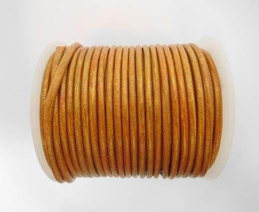 Round Leather Cord - SE.M.Cinnamon  - 3mm