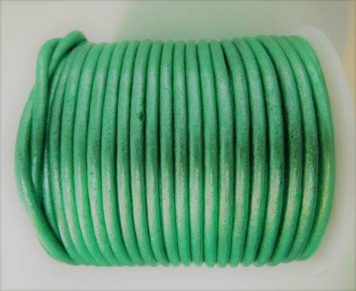 Round Leather Cord - SE.M.Olive  green  - 3mm