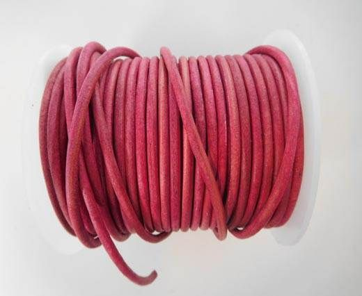 Round Leather Cord - SE.V.Dark Pink  - 3mm