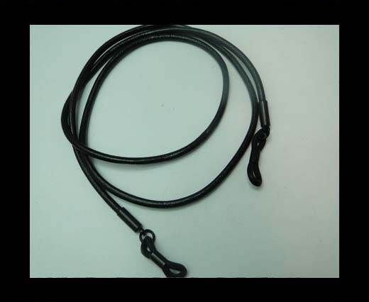 Round Leather Glass Hangers - 3mm -BLACK