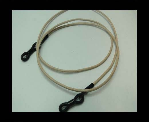 Round Leather Glass Hangers - 3mm -NATURAL