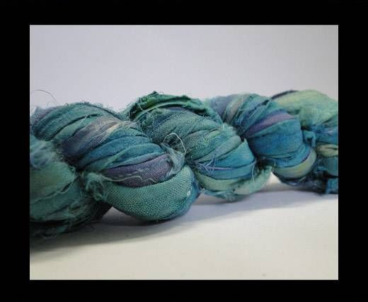 Sari silk ribbons- Lagoon