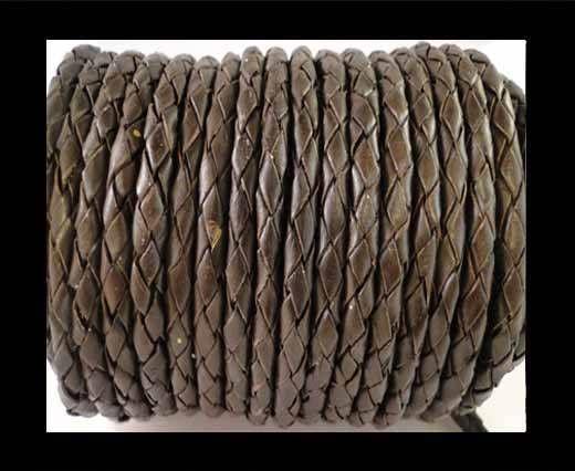 Round Braided Leather Cord SE/B/03-Dark Brown - 6mm