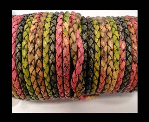 Round Braided Leather Cord SE/DM/05-Sunset-8mm