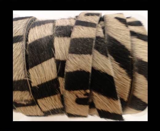 Hair-On-Flat Leather- Zebra Print-10MM
