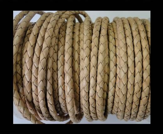 Round Braided Leather Cord SE/B/01-Natural-4mm