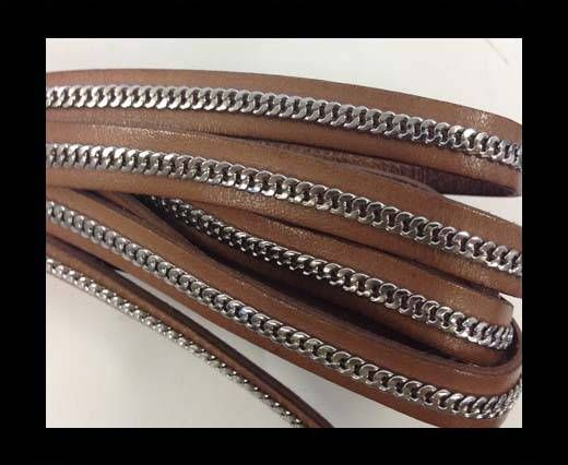 Stainless steel chain on leather-style 14-10mm-hazelnut