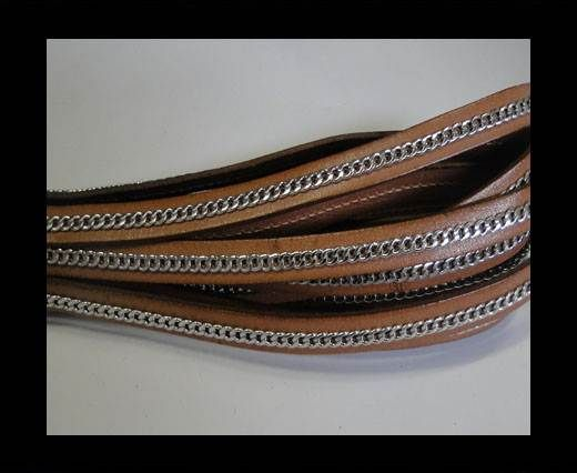 Stainless steel chain on leather-style 14-10mm- Natural Nut