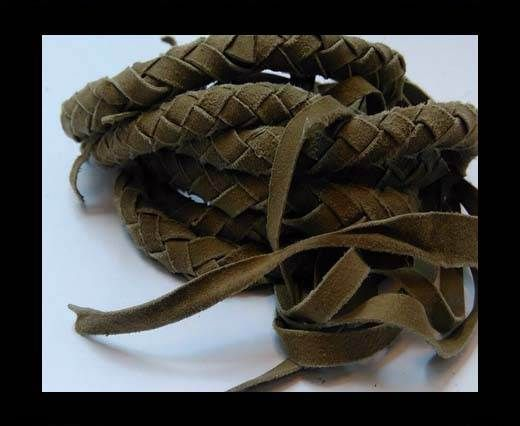 Suede Braided Belts with tassels - 8mm round -Taupe