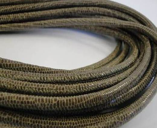 Fine Nappa-Lizard style-4mm-taupe + paillettes transparent