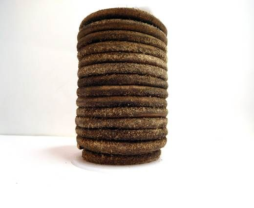 Round Hairy Leather -6mm-Vintage Brown