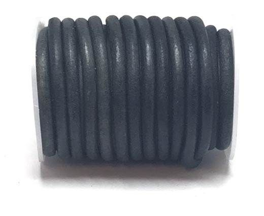 Round Leather Cord - 5mm - Vintage Dark blue