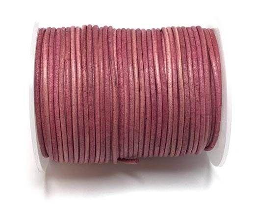 Round leather cord-2mm-vintage dark pink
