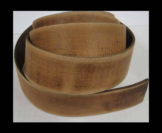 Vintage Style Flat Leather - 30mm-light brown