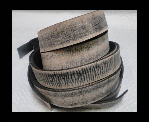 Vintage Style Flat Leather - 14mm-Tiger Vintage Black