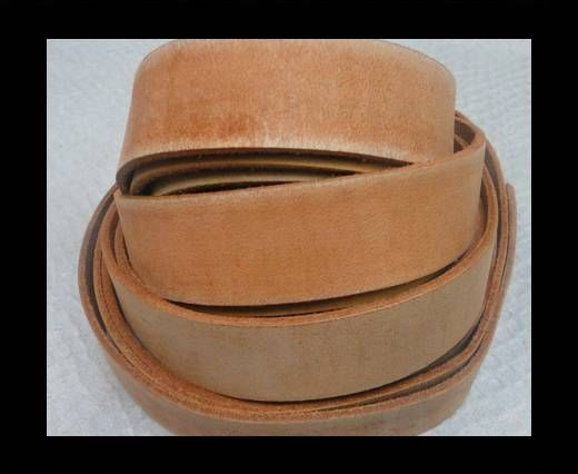 Vintage Style Flat Leather - 14mm-Vintage Orange Tan