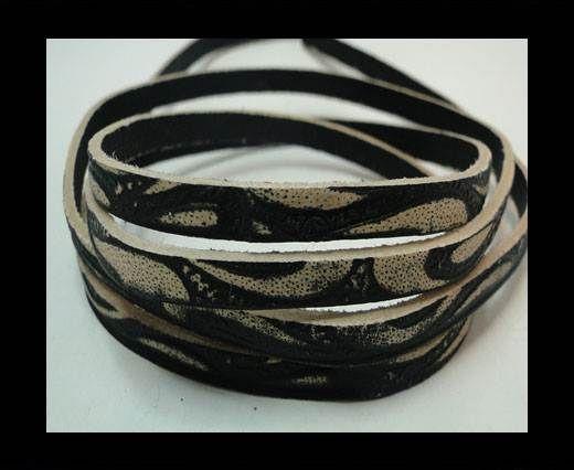 Vintage Style Flat Leather - 5mm-Black