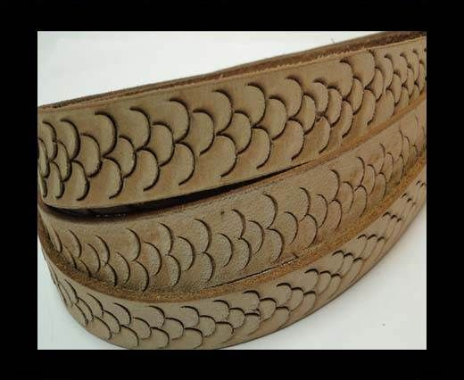 Vintage Style Flat Leather-Fish Style-20mm-Light Brown