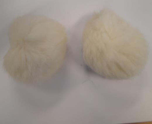 Rabbit Fur Pom Pom-White-9cms