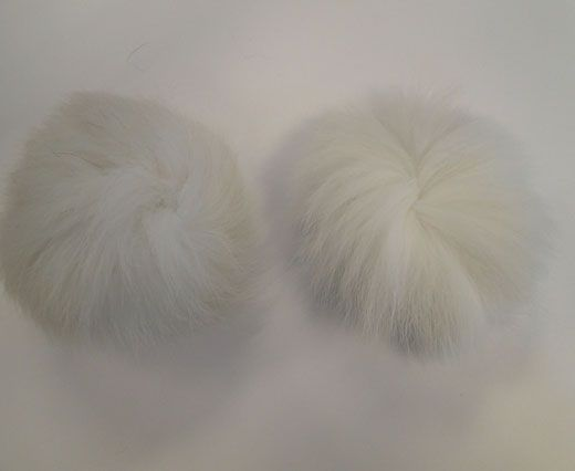 Fox Fur Pom Pom-White-10cms