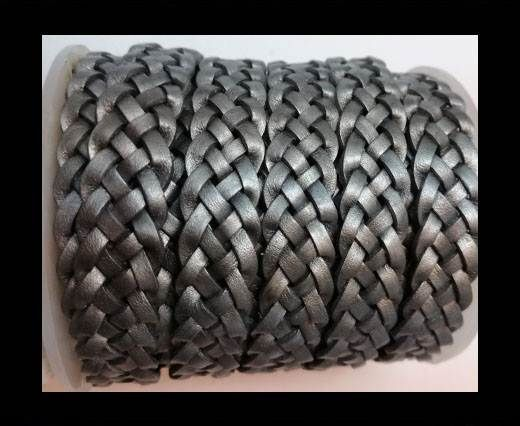 10mm Flat Braided- SE METALLIC GREY - 5 ply braided Leather Cord