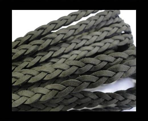 Flat Braided Nappa Leather Cords 6mm-GREY