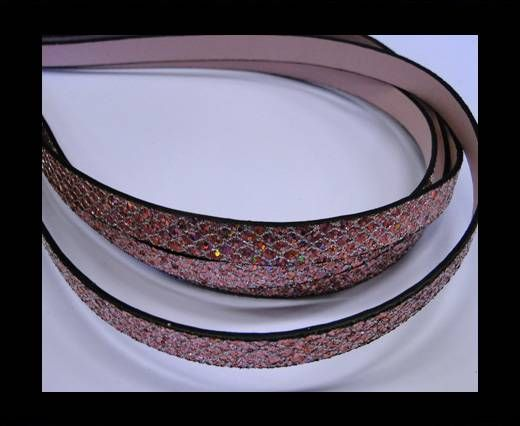 Eco Glitter Leather - Pink -Glitter Style -10mm