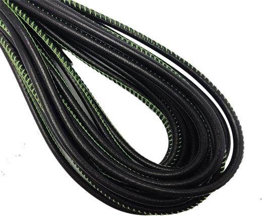 Round Stitched Nappa Leather Cord-4mm-black with green stitch