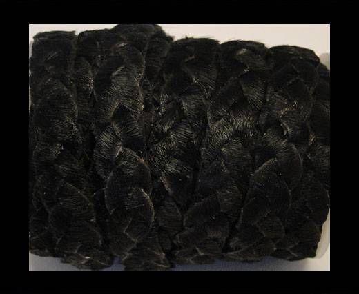 Cuir plat naturel avec poil tressé - SE-HNC-Noir