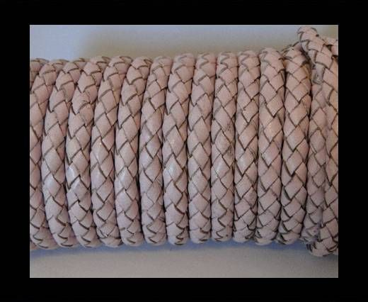 Round Braided Leather Cord SE/B/2033-Baby Pink - 3mm